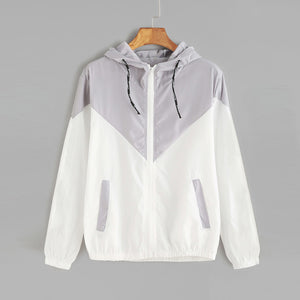 Jody Colorblock Windbreaker Jacket - Grey/White