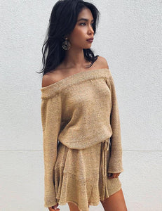 Off the Shoulder Knitted Trumpet Sleeve Dress