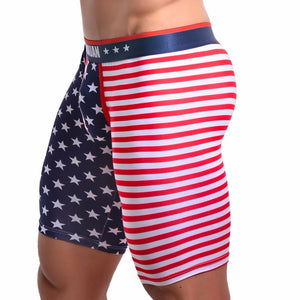 Men's USA Flag Striped Boxer Briefs Shorts