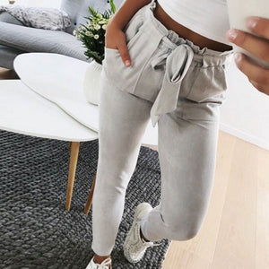 High Waist Harem Pants Women Bowtie