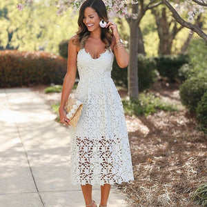Summer Nights Crochet Cami Cocktail Dress