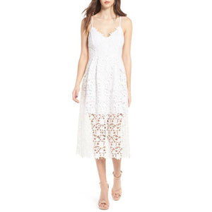 Summer Nights Crochet Cami Cocktail Dress - White