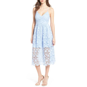 Summer Nights Crochet Cami Cocktail Dress - Blue