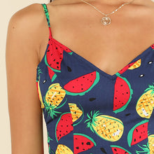 Women's Summer Jumpsuit with Fruit Pattern