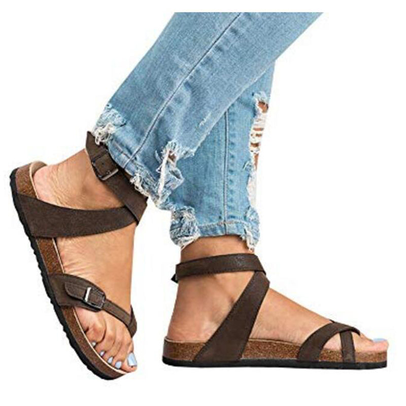 e3b523827 ... Cross Toe Double Buckle Strap Jesus Sandals ...