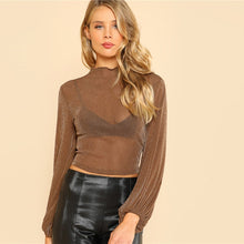 All Night Long Glitter Mesh Sheer Stretchy Crop Top