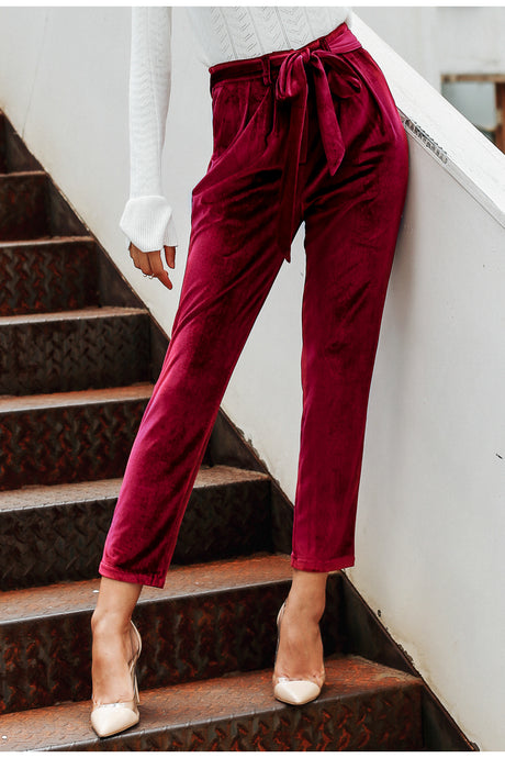 Velvet High Waisted Harem Pants