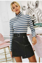 Turtle Neck Striped Pull Over
