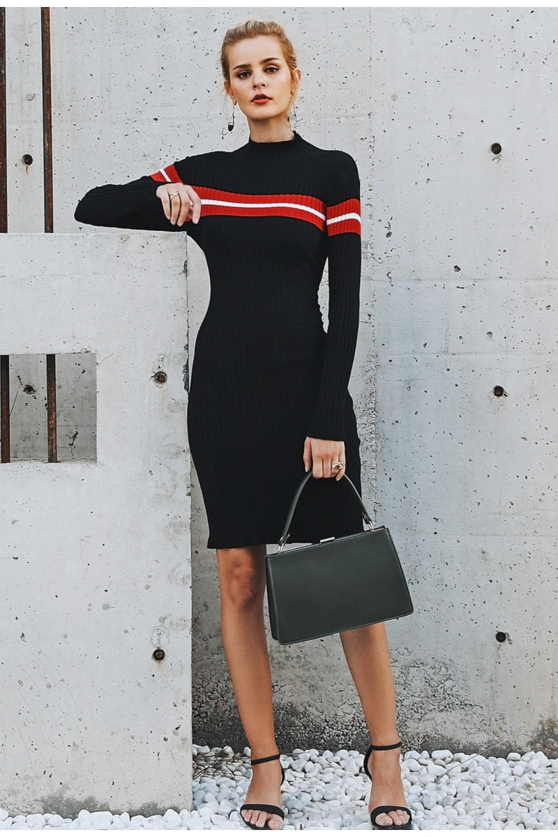 b7bd0960ee7 ... Bodycon Striped Turtleneck Dress ...