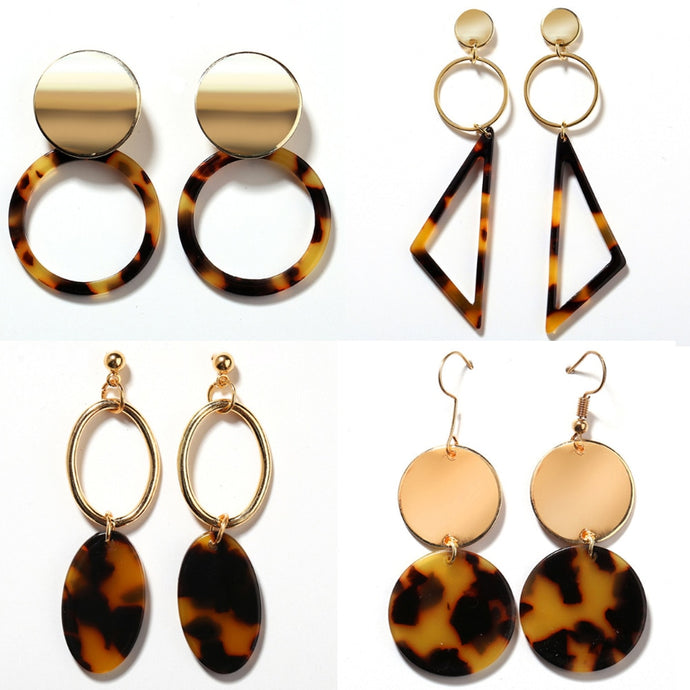 Leopard Pattern Statement Drop Earrings