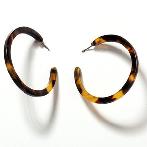 Leopard Pattern Statement Drop Earrings - Hoops