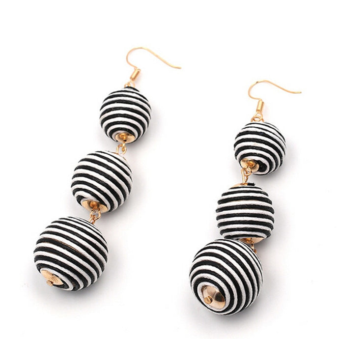 Drop Earrings Black and White Stripped