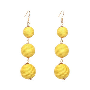 Drop Earrings Yellow Threaded