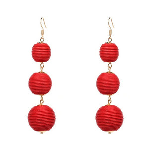 Threaded Three Ball Drop Fashion Earrings - Red