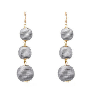 Drop Earrings Grey Threaded 3 Balls