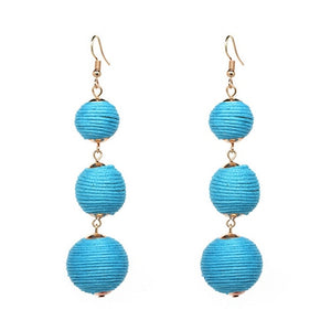 Threaded Three Ball Drop Fashion Earrings - Blue
