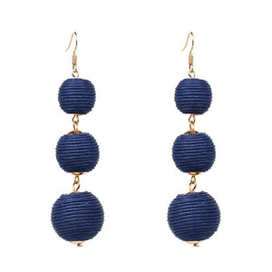 Drop Earrings Navy Threaded Three Balls