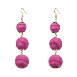 Threaded Three Ball Drop Fashion Earrings - PINK