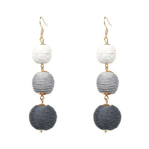 Threaded Three Ball Drop Fashion Earrings - White to Grey