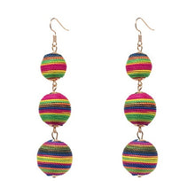 Threaded Three Ball Drop Fashion Earrings - Multi