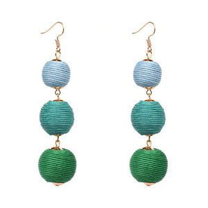 Threaded Three Ball Drop Fashion Earrings - Ombre Blue Green
