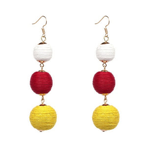 Threaded Three Ball Drop Fashion Earrings White Red Yellow