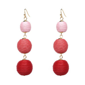 Threaded Three Ball Drop Fashion Earrings - Ombre Pink to Red