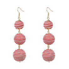 Red Stripped - Threaded Three Ball Drop Fashion Earrings