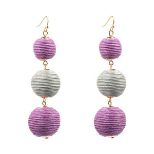 Threaded Three Ball Drop Fashion Earrings - Purple Grey