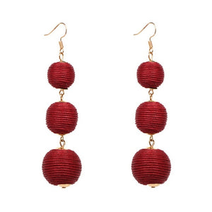 Threaded Three Ball Drop Fashion Earrings - Dark Red
