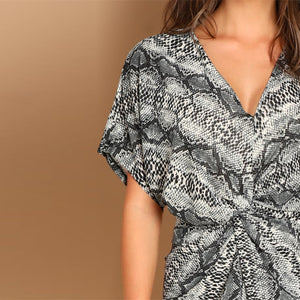 V Neck Snake Skin Print Cocktail Dress