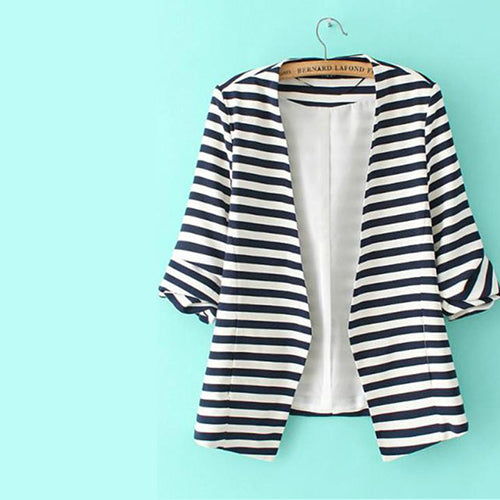 Victoria Navy White Striped Fitted Blazer