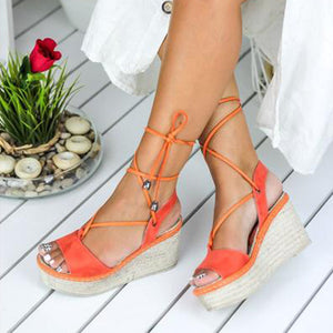 Women's Lace-up Suede Orange Sandal Wedges