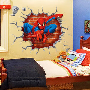 3d spiderman through the wall stickers home