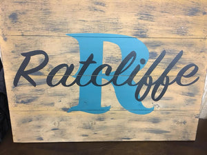 18 X 24 plank board family name signs
