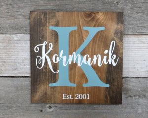 "Family Name Signs - 12"" X 12""  CODE15"