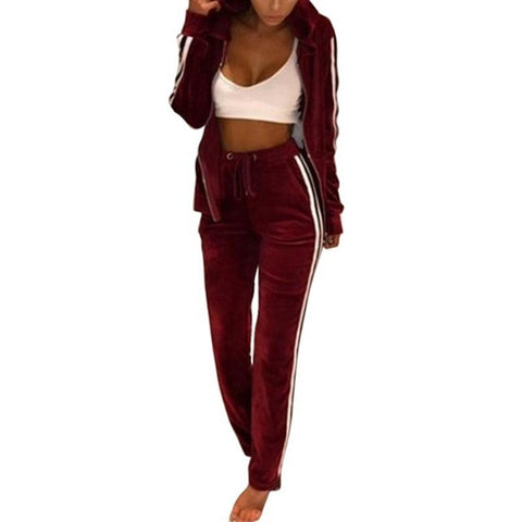 Velvet Tracksuit Two Piece Set
