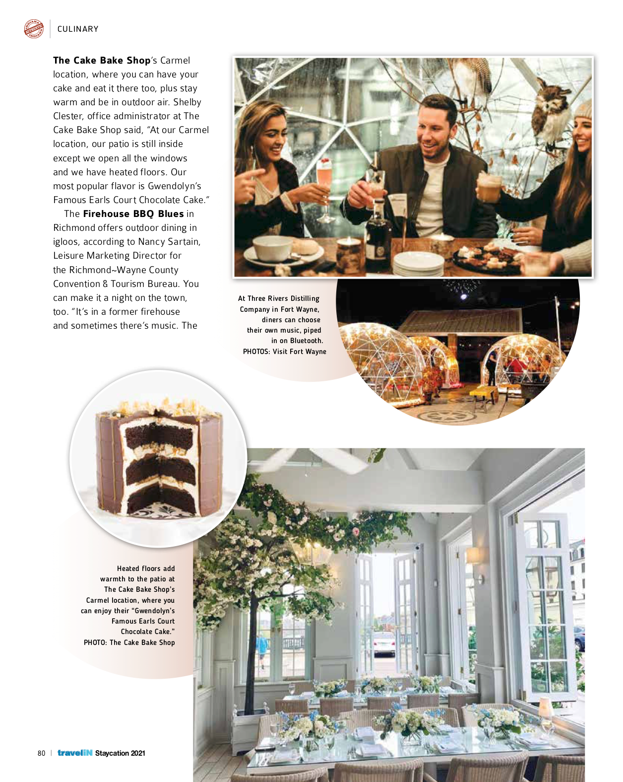 The Cake Bake Shop 'Top Outdoor Dining Spot' Travel Indiana Magazine January 2021