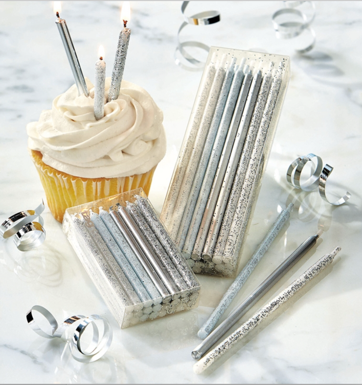 Silver Glitter Birthday Candles