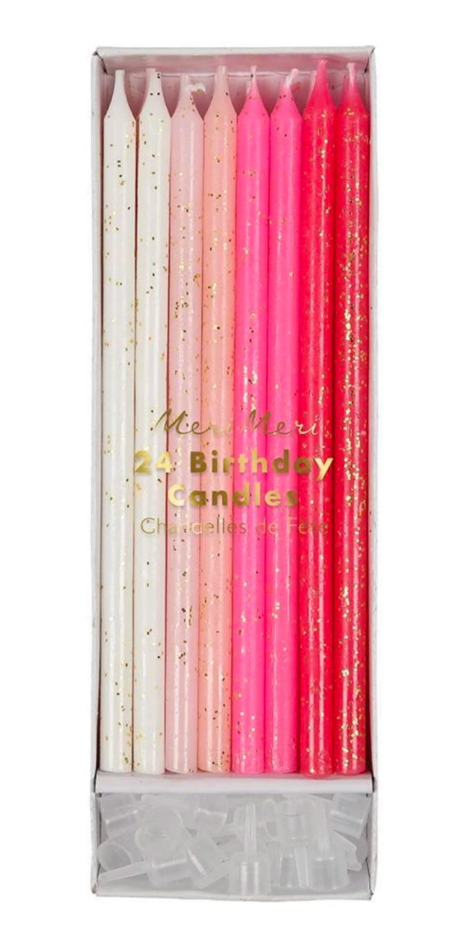 Pink Glitter Birthday Candles