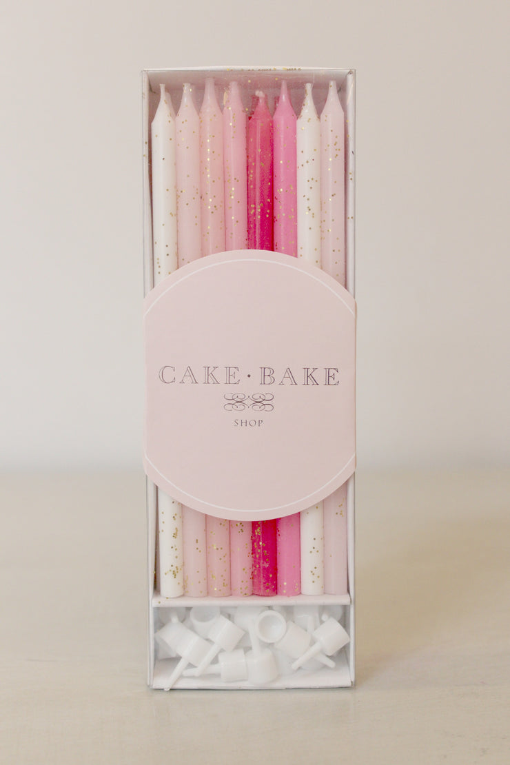 Pink Gold Glitter Birthday Candles