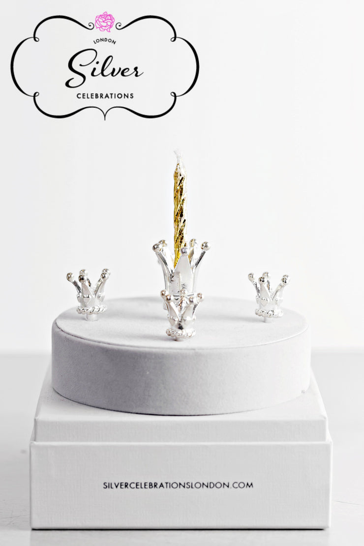 Silver Celebration Candle Holders Crown Collection