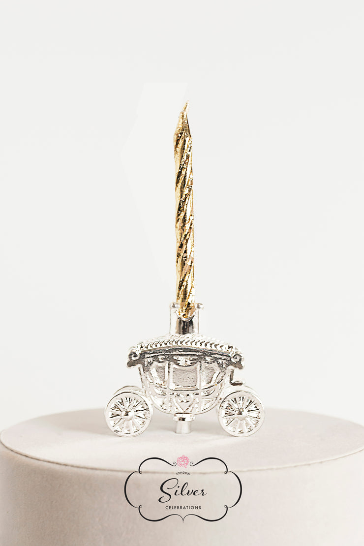 Silver Celebration Candle Holders Princess Carriage Collection