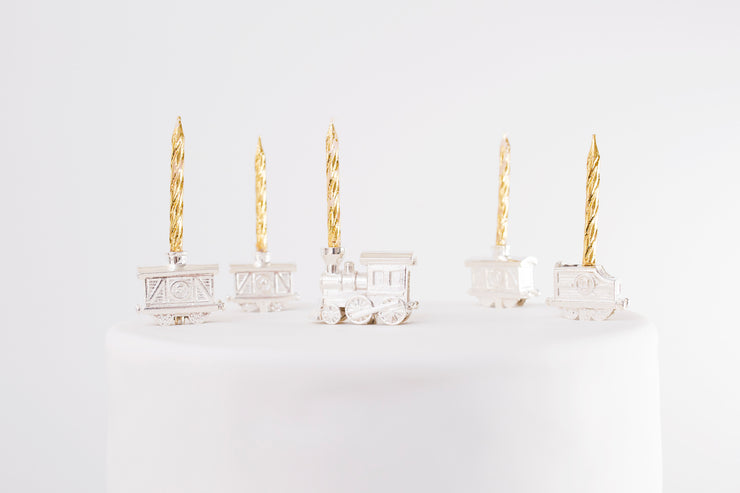 Silver Celebration Candle Holders Train Car Collection