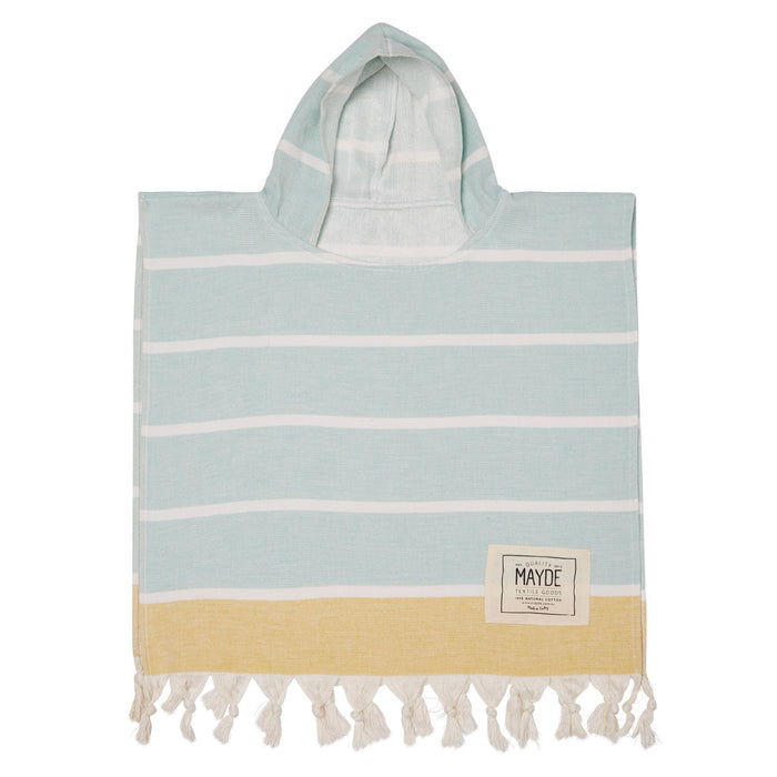 KIDS SHELLY PONCHO - MINT / MUSTARD