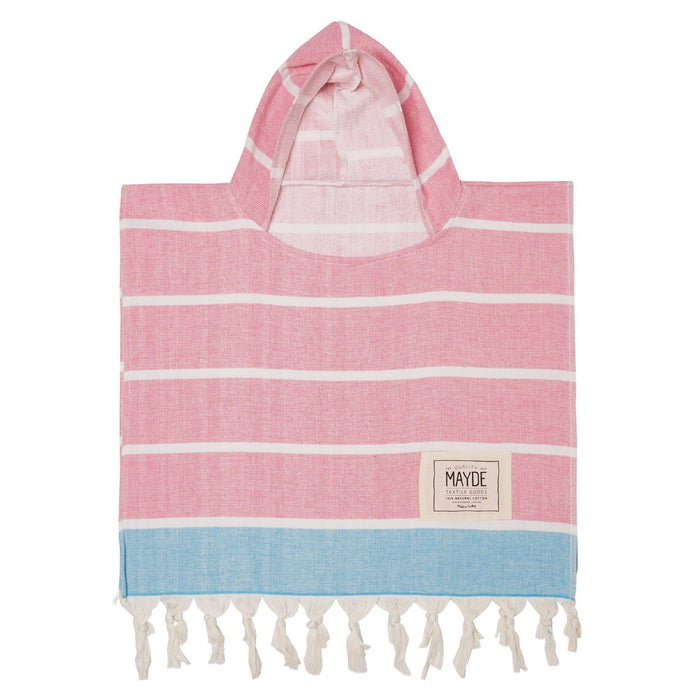KIDS SHELLY PONCHO - FUSCHIA / TURQUOISE
