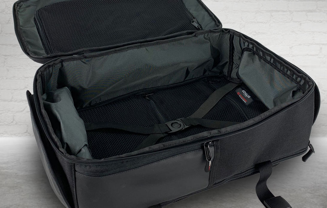 Internal of backpack with clamshell style opening