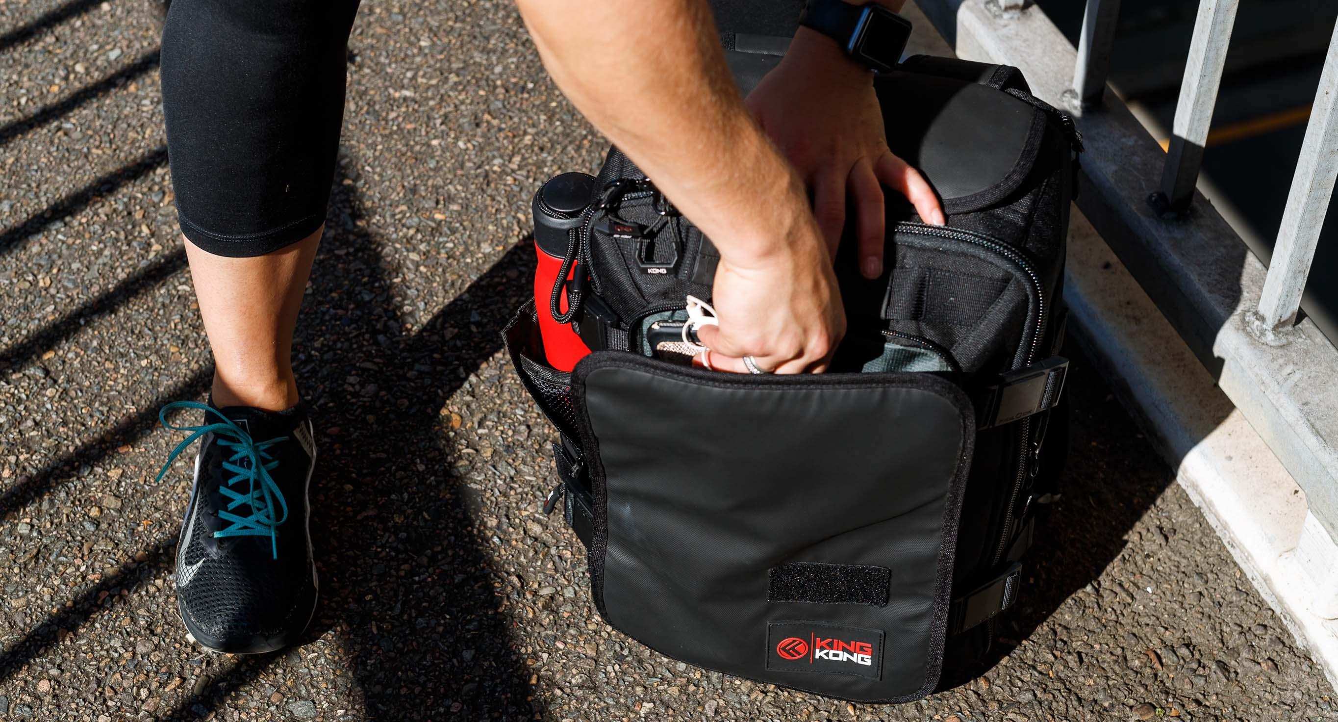 Organization in backpack with pockets and compartments
