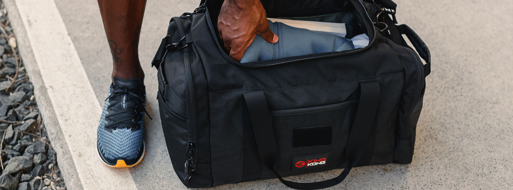 Gym duffel with water bottle holders