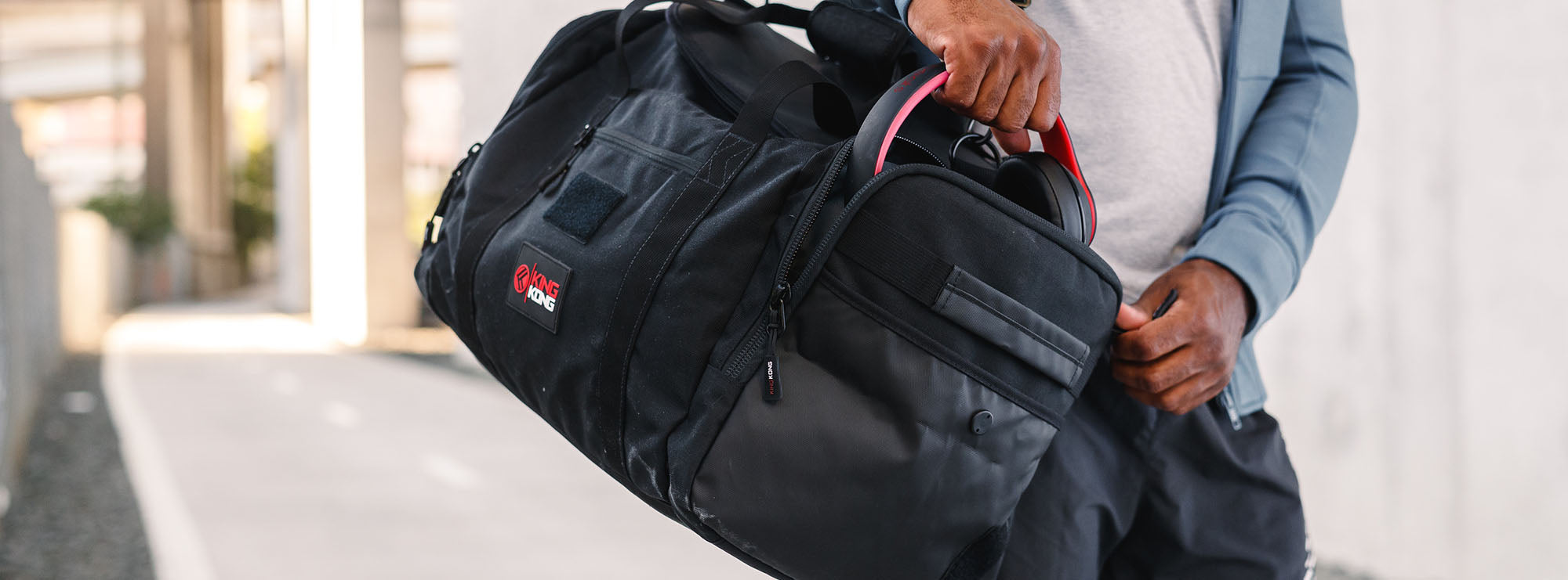 Gym bag compartment for shoes and clothes
